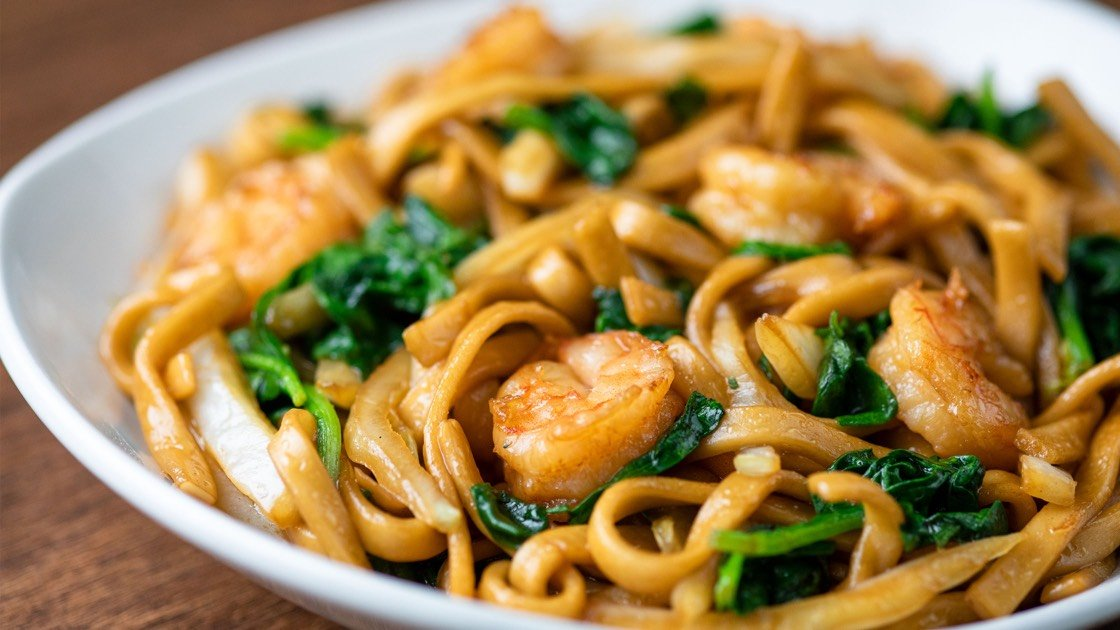 Shrimp Fried Noodles, close up