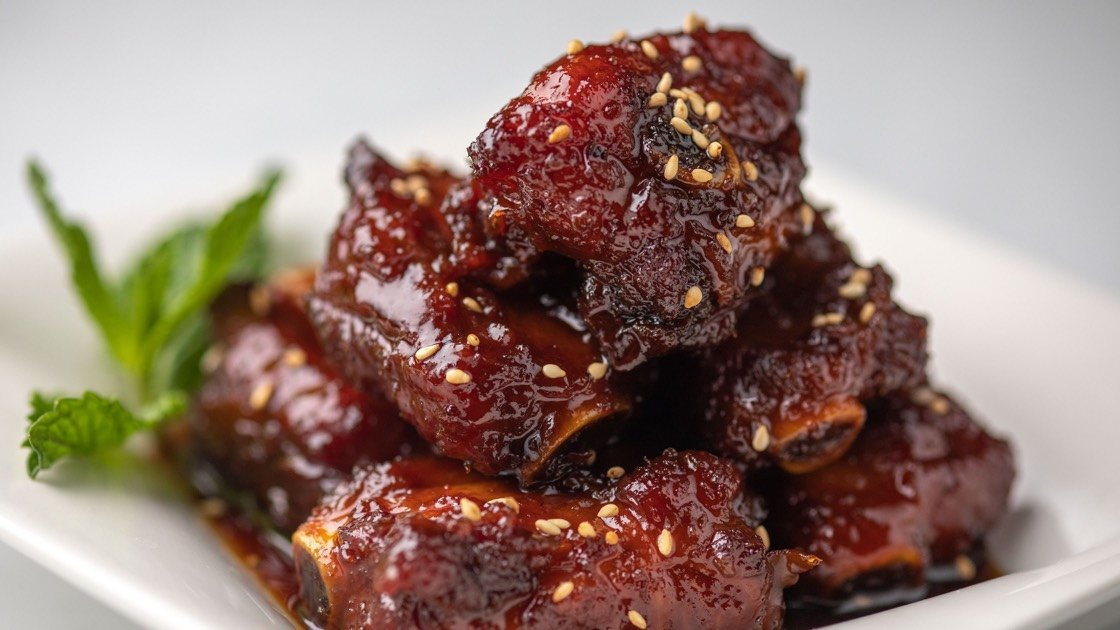 Sweet & Sour Pork Baby Back Ribs, close up