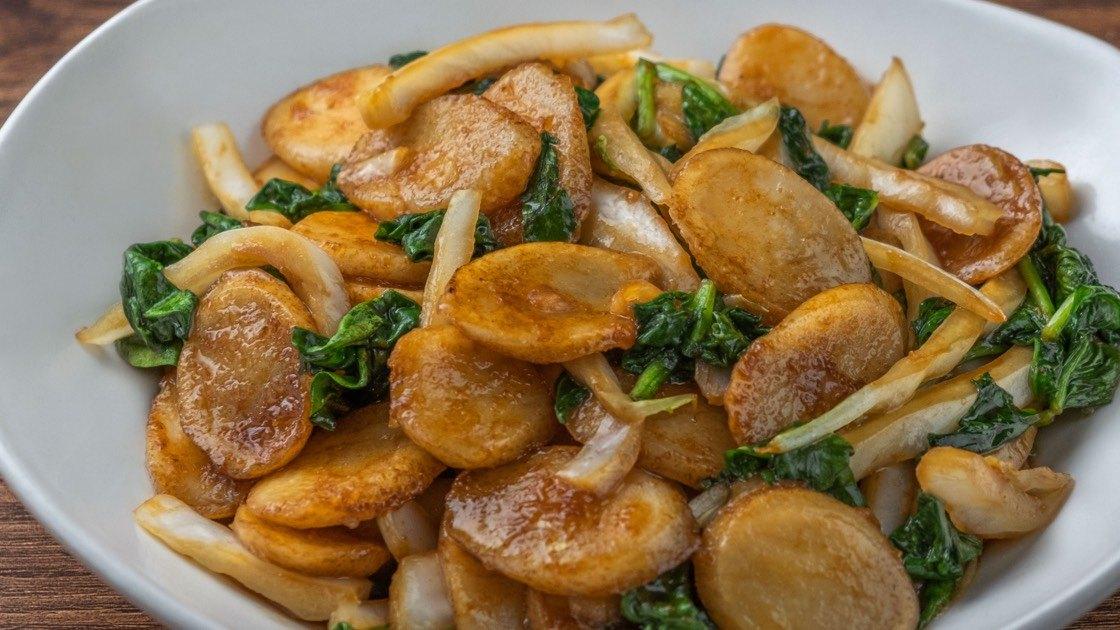 Vegetarian Shanghai Rice Cakes, detail