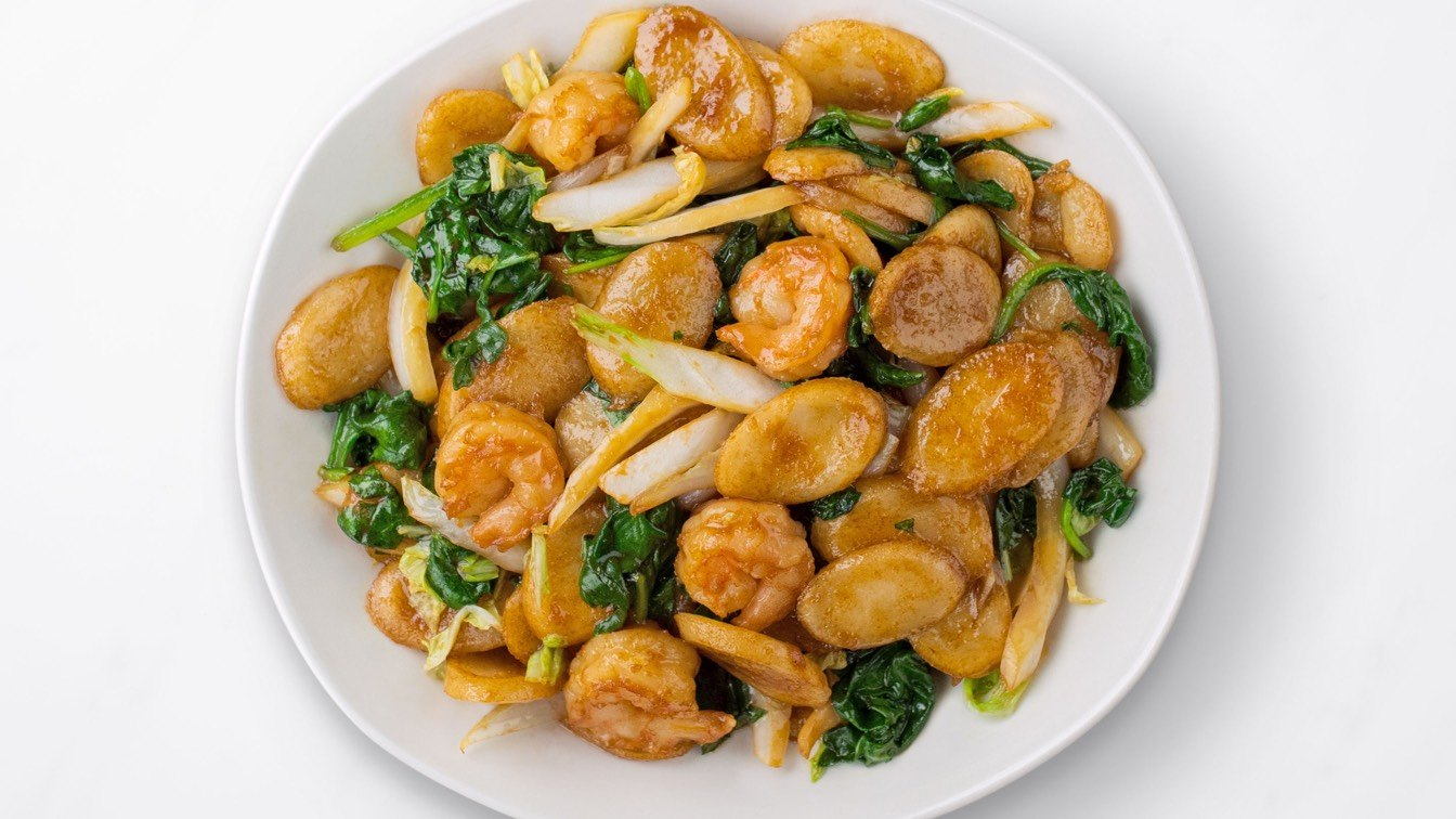 Shanghai Rice Cakes with Shrimp