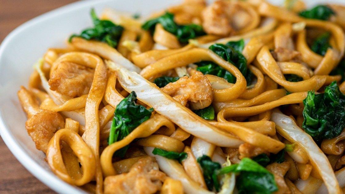 Kurobuta Pork Fried Noodles, close up