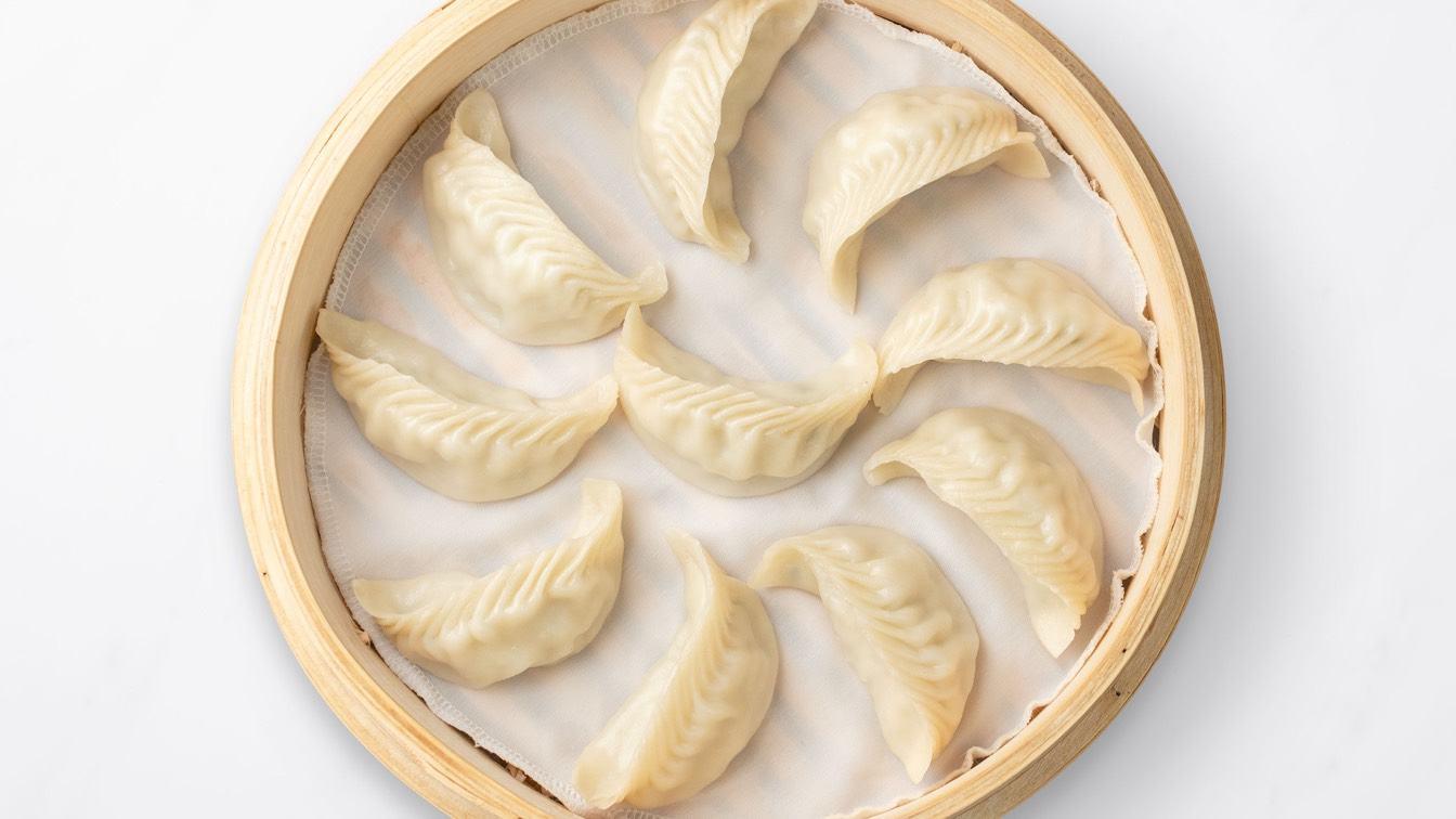 Basket, Steamed Cod Dumplings in a steamer basket
