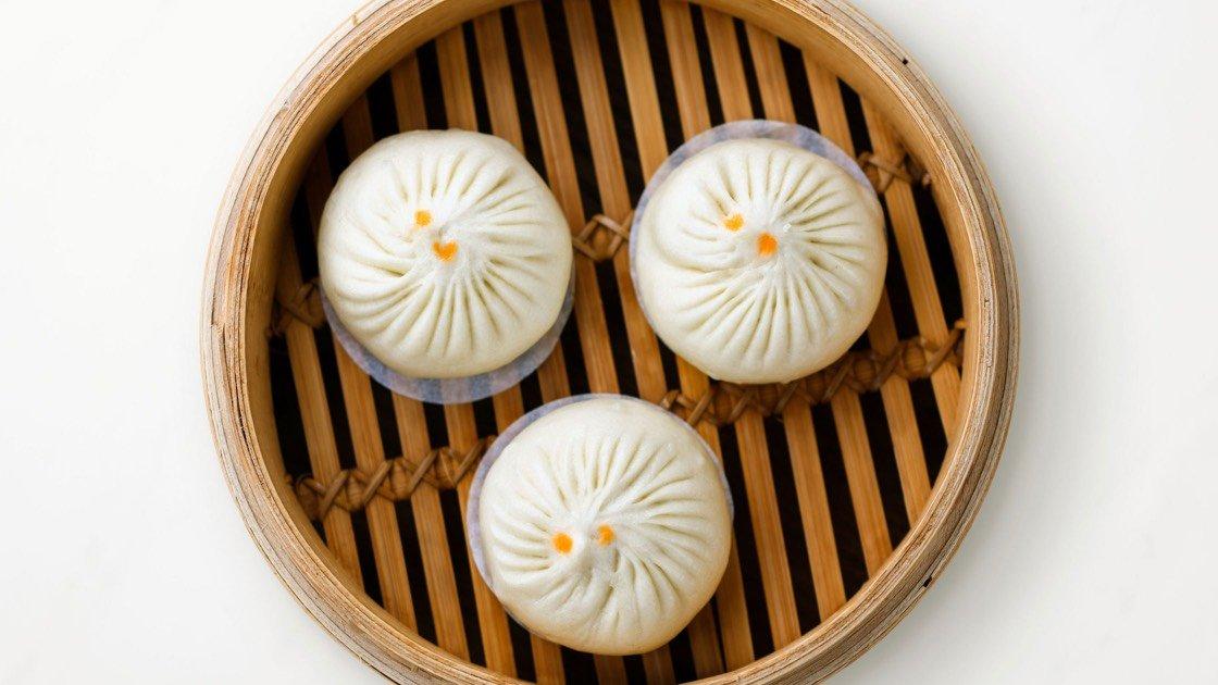 Jidori Chicken & Mushroom Bun in a steamer basket, aerial view