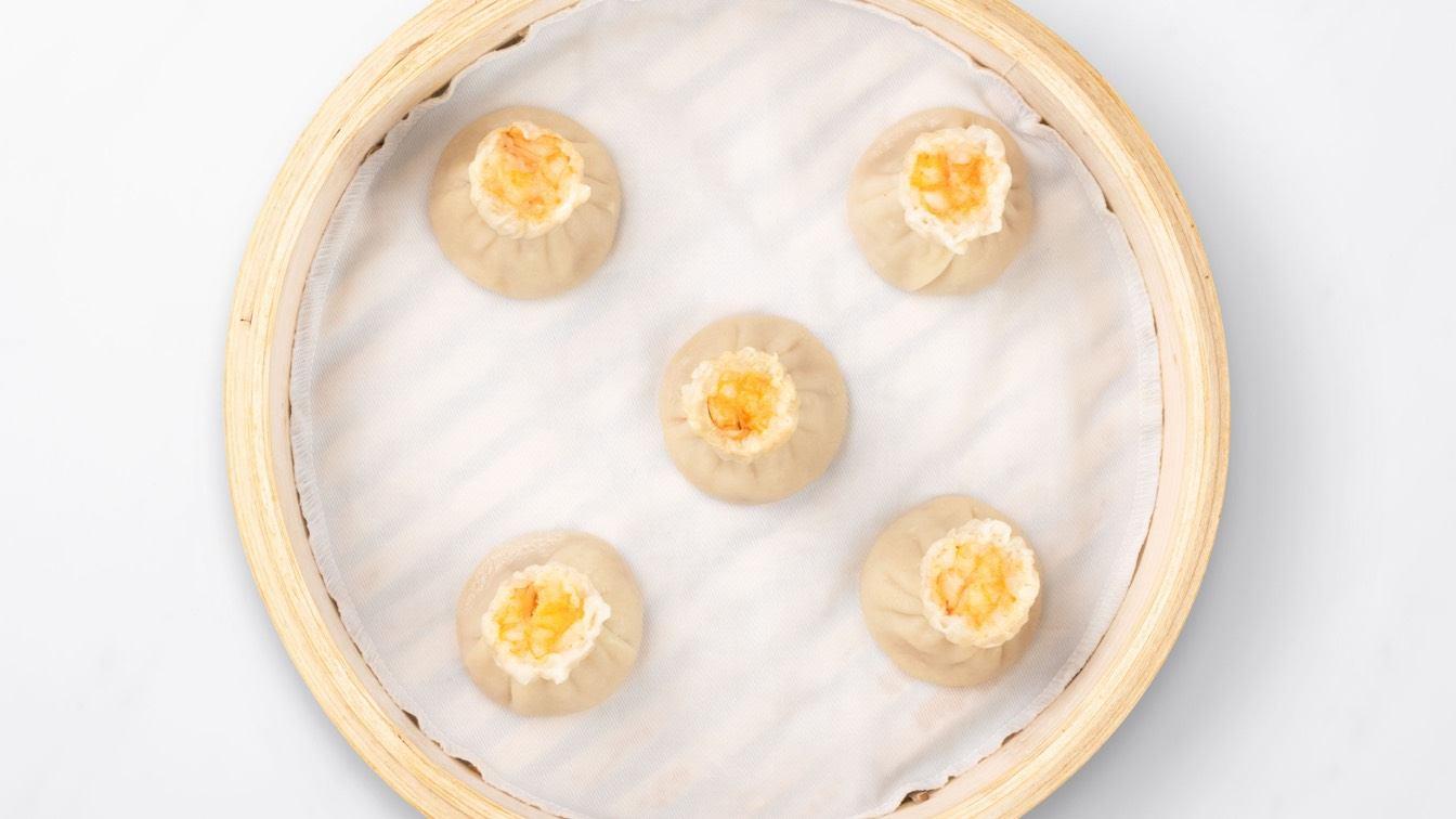 Shrimp & Kurobuta Pork Shao Mai in a steamer basket