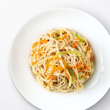 Soy Noodle Salad in a white bowl