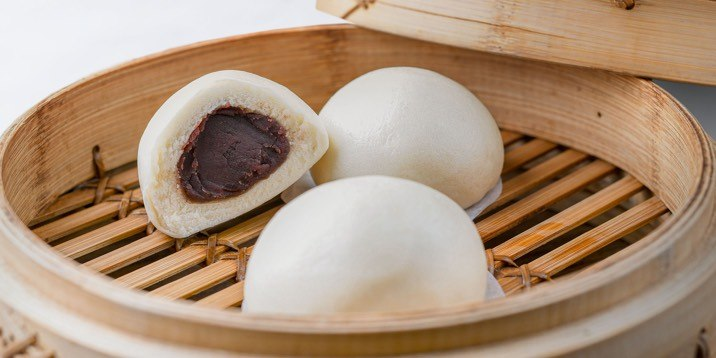 Red Bean Bun in a steamer basket
