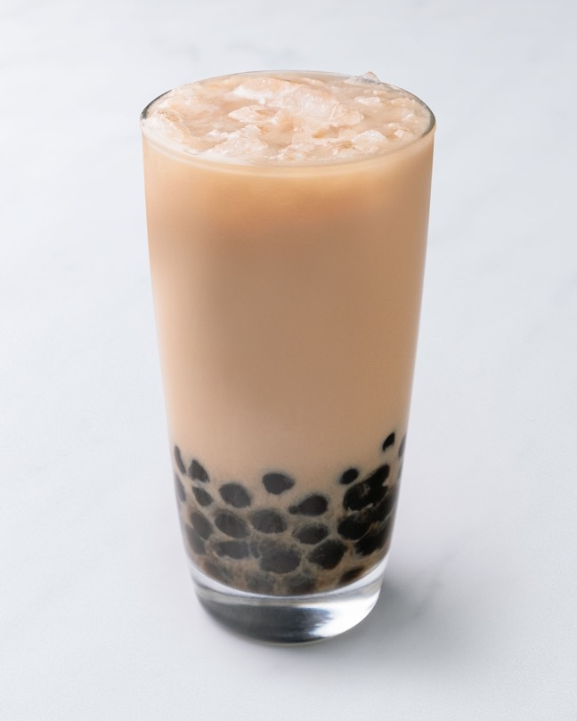 Icy glass of Boba Milk Tea