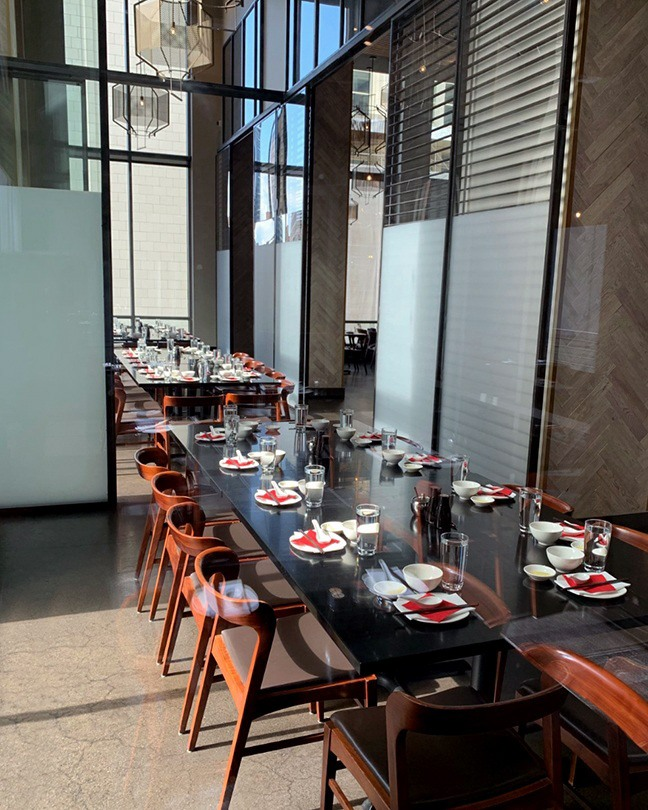 The private dining room at Din Tai Fung Seattle at Pacific Place.
