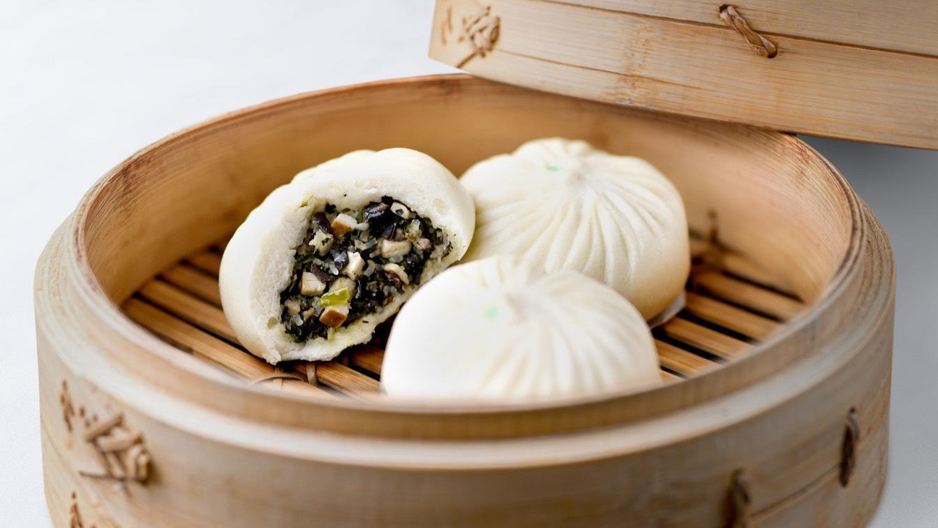Vegetable & Mushroom Bun in a steamer basket