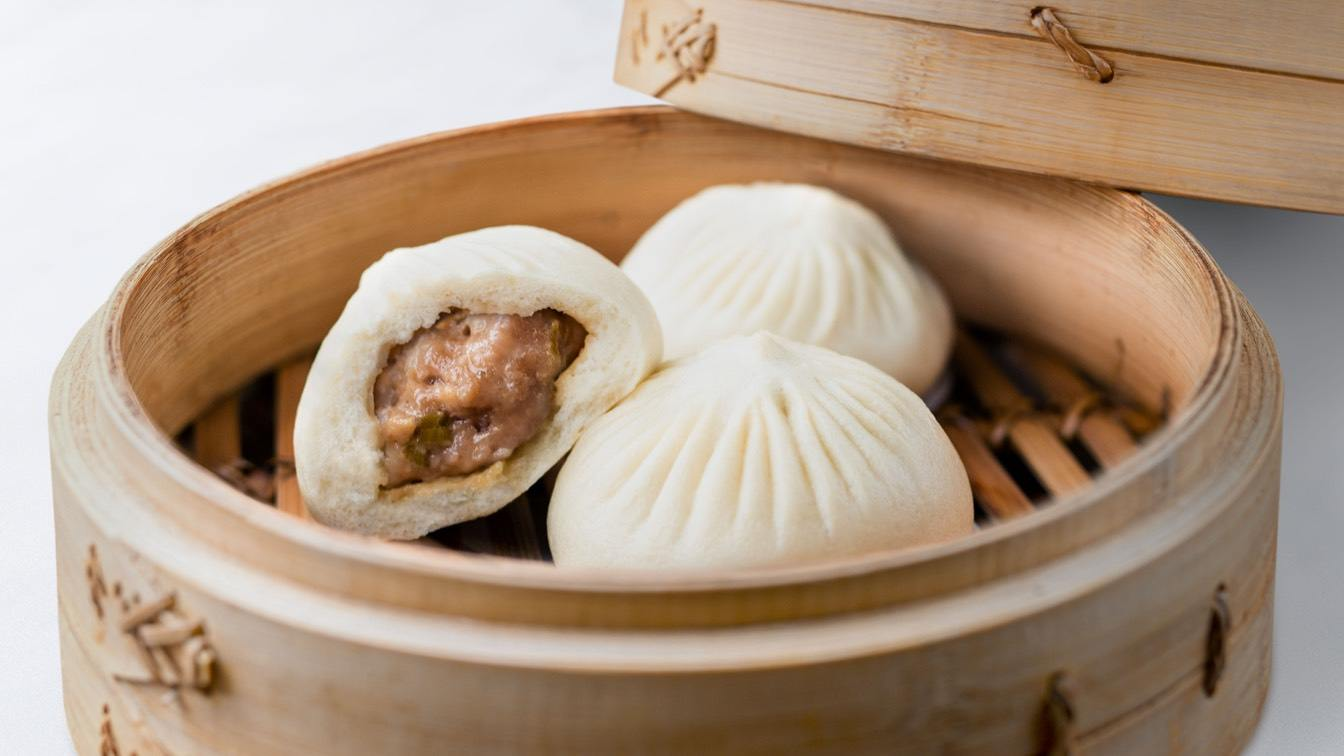 Kurobuta Pork Bun in a steamer basket