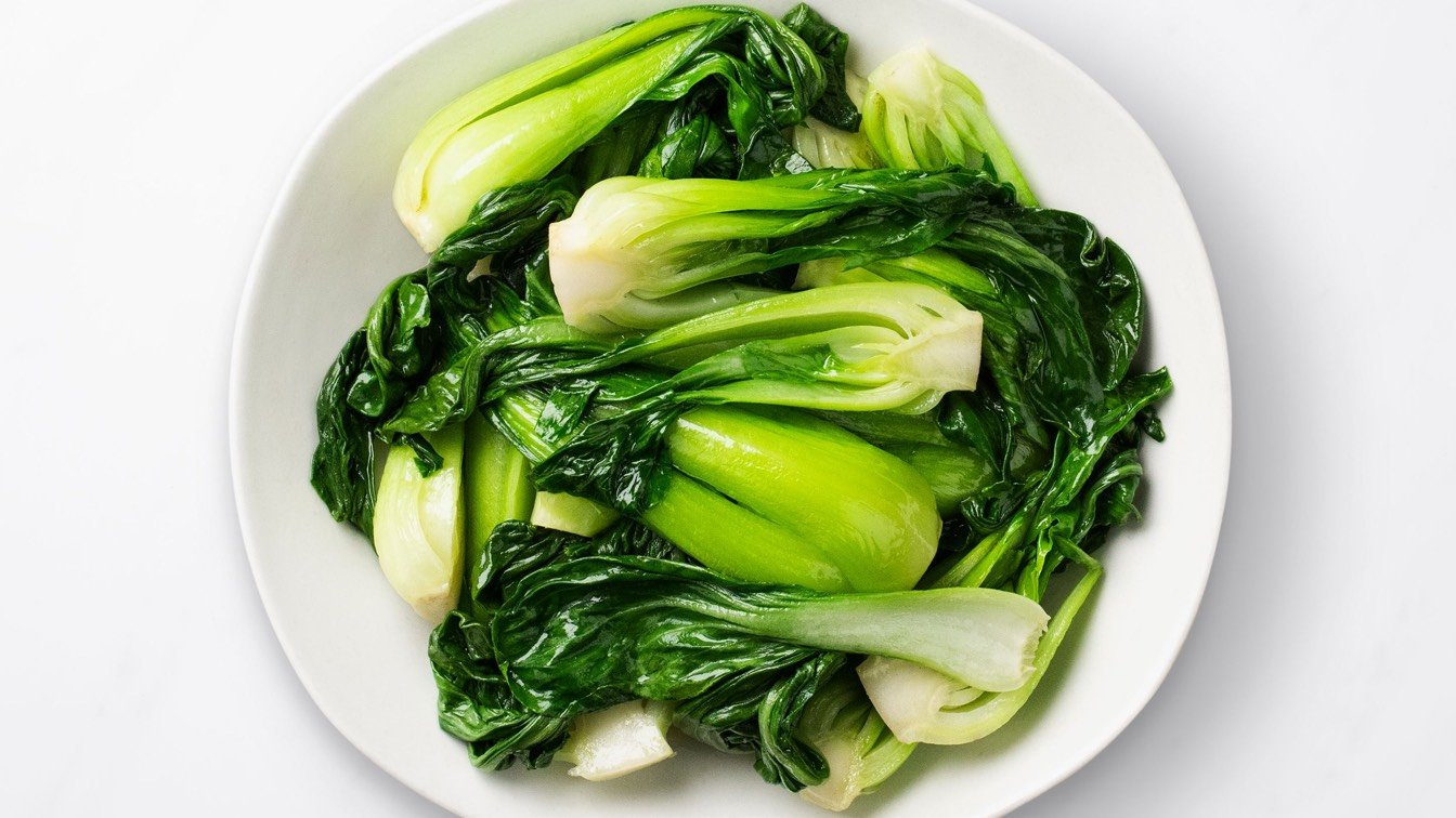 Sauteed Bok Choy in a white bowl