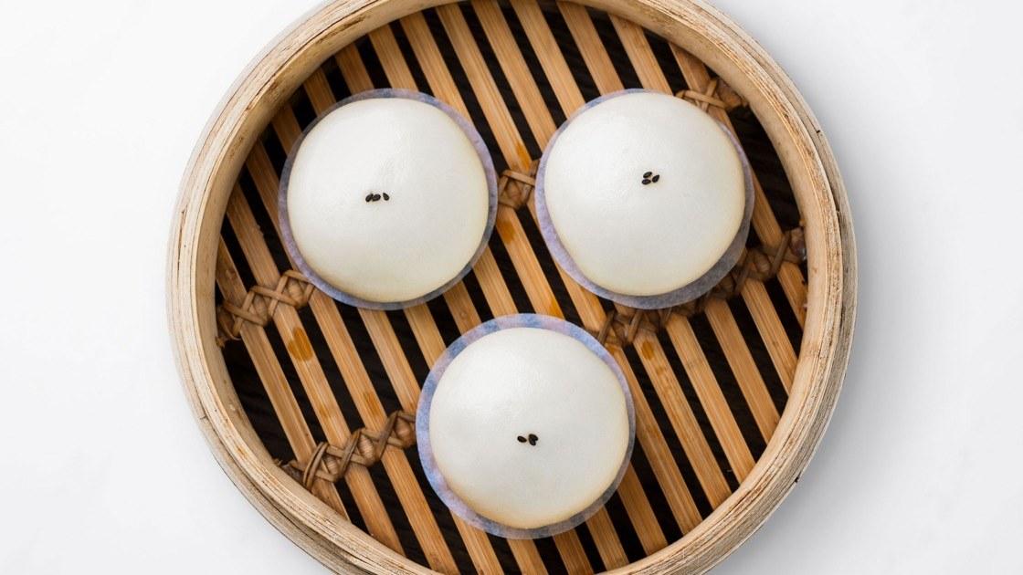 Sesame Bun in a steamer basket, aerial view