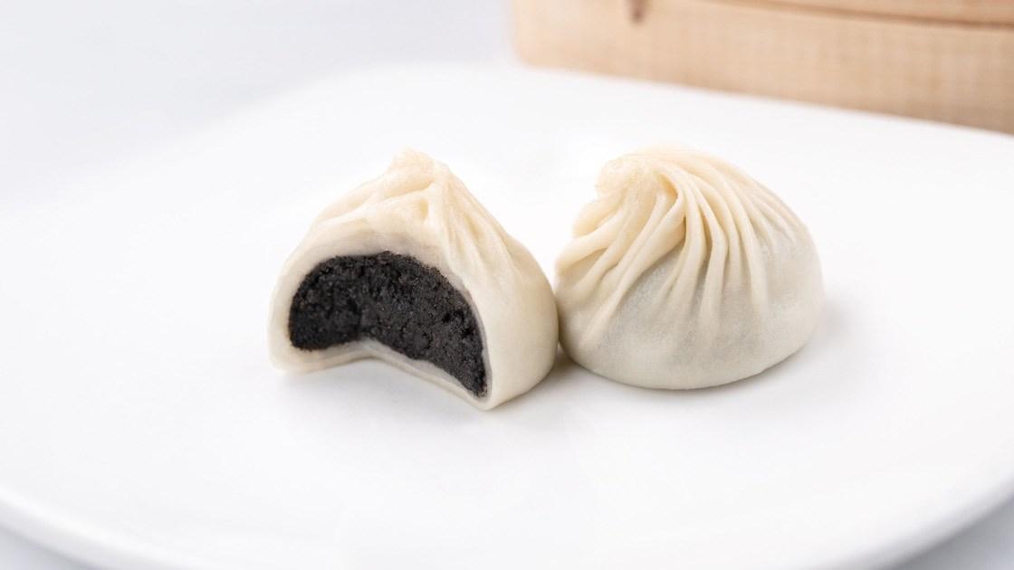 Sesame & Mochi Xiao Long Bao, close up