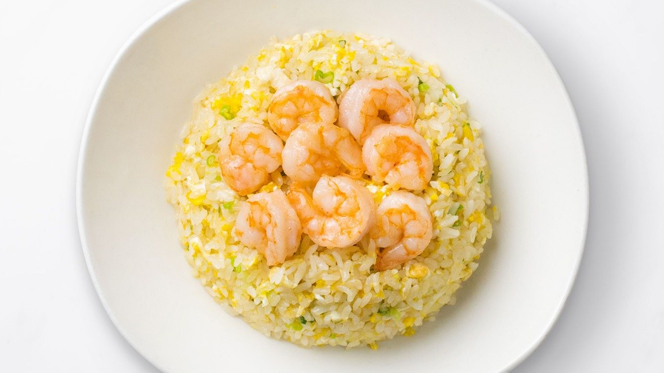 Shimp Fried Rice on a white plate