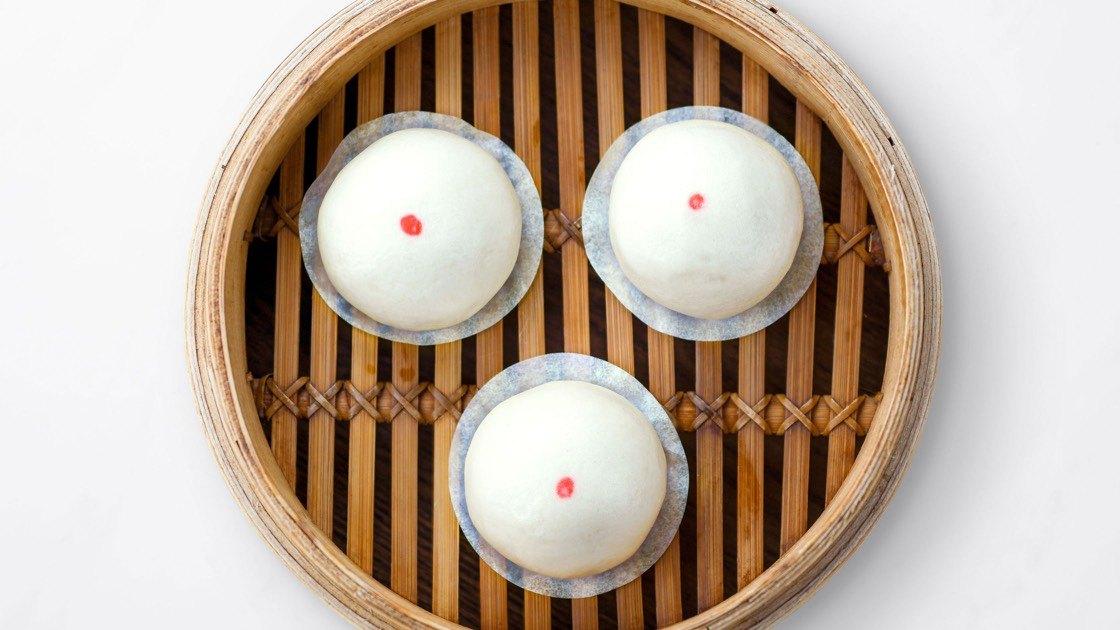 Sweet Taro Bun in a steamer basket, aerial view