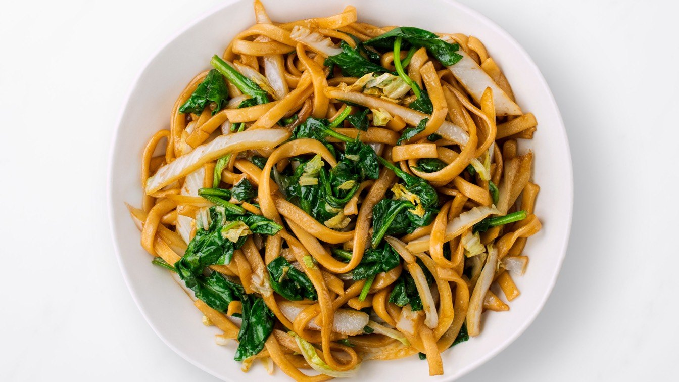 Vegetarian Fried Noodles on a white plate