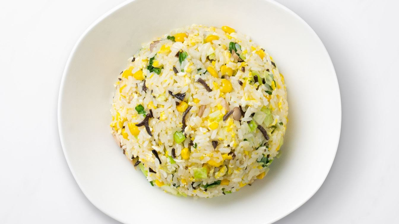 Vegetable & Mushroom Fried Rice (with Egg) on a white plate