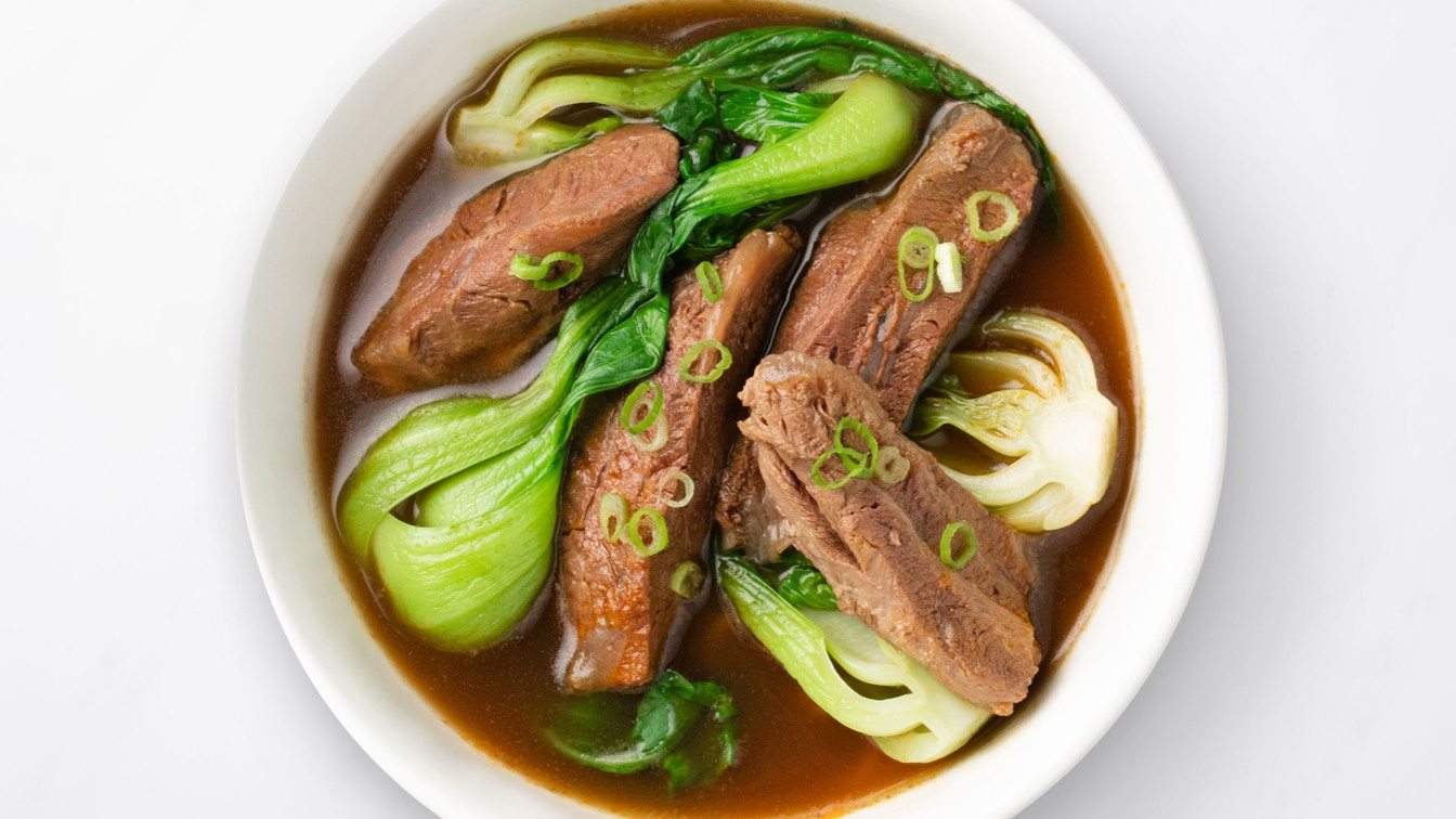 Braised Beef Soup in a white bowl