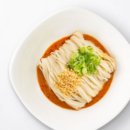 Noodles with Sesame Sauce in a white bowl