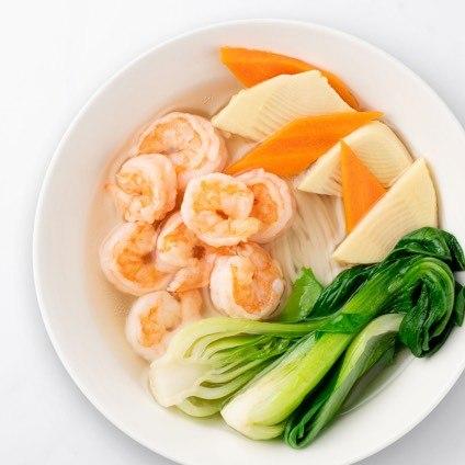 Shrimp Noodle Soup in a white bowl
