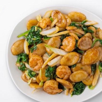Shanghai Rice Cakes with Shrimp