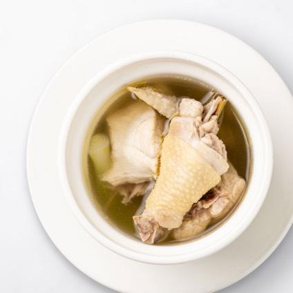 House Jidori Chicken Soup (Steamed) in a white bowl