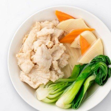 Jidori boneless chicken noodle soup in a white bowl