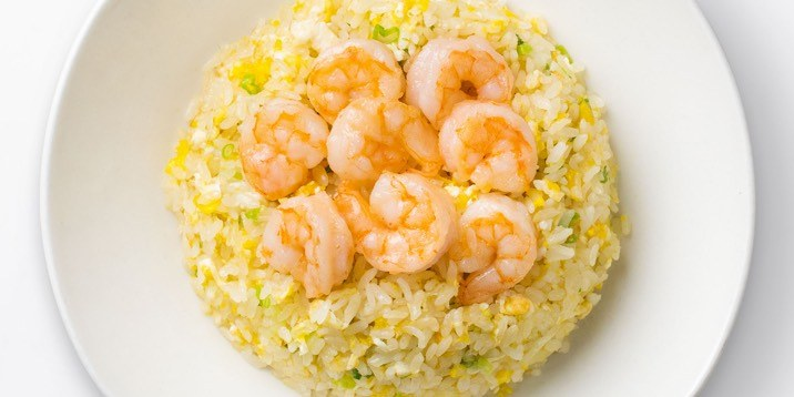 Shimp Fried Rice on a white plate