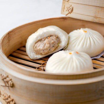 Jidori Chicken & Mushroom Bun in a steamer basket