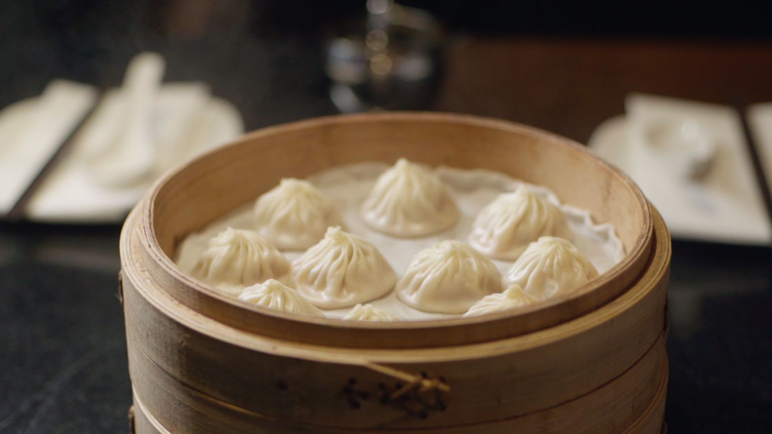 Steaming soup dumplings.