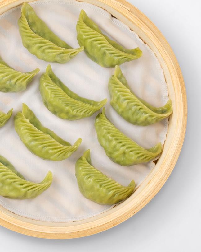 Basket of Vegetable and Mushroom Green Dumplings