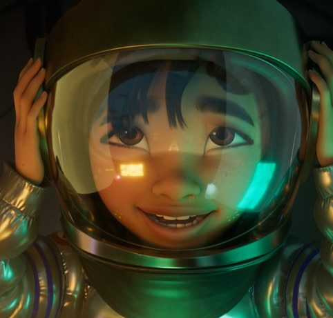Fei Fei with her spacesuit on.