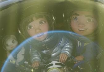 Fei Fei and Chin in the rocket.