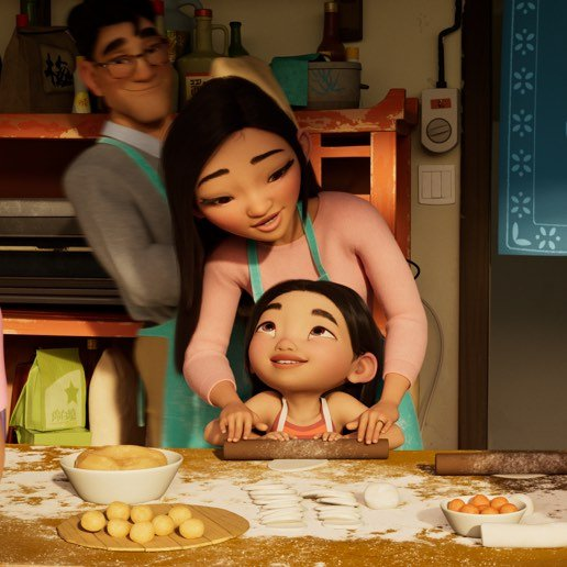 An animated still from Over the Moon depicting a girl cooking with her mother.