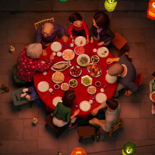 An animated still from Over the Moon depicting a family around the dinner table.