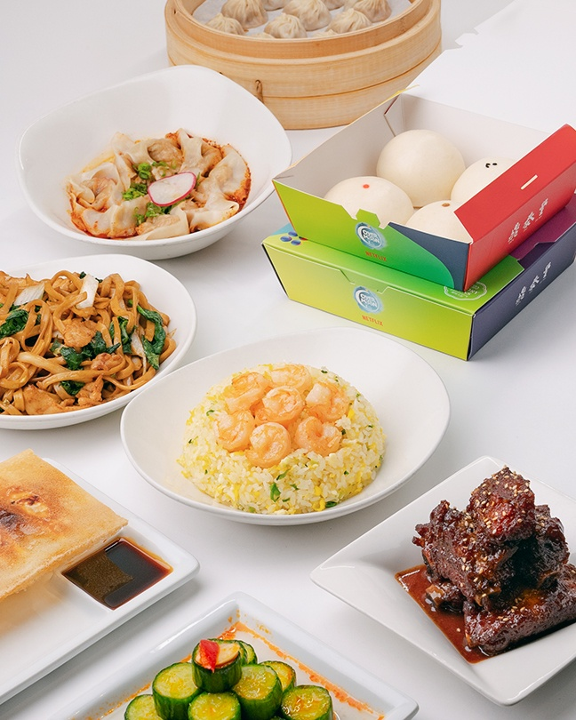 A family style photo of our Full Moon Feast menu items.