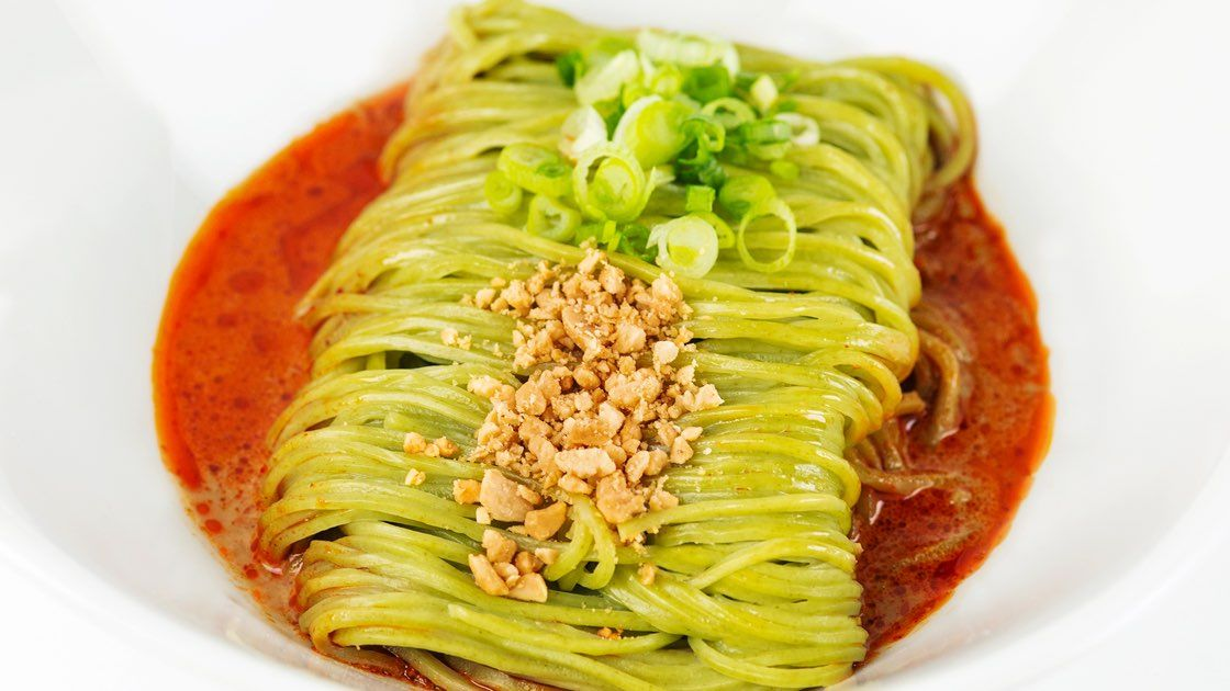 White bowl of Vegan Noodles with Sesame Sauce