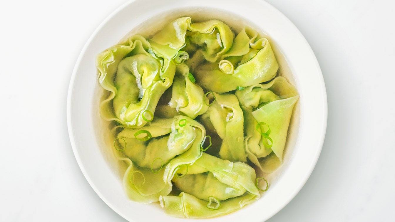 White bowl of Vegan Wonton Soup